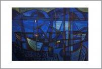 blaue Boote, rueckseitige Signatur